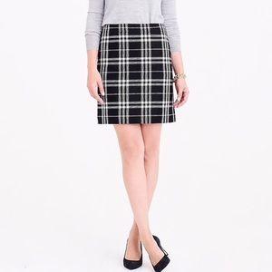 J. Crew | NWOT Black and White Plaid Mini Skirt